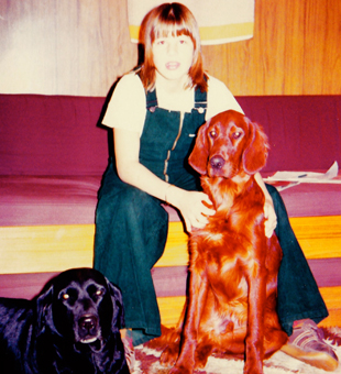 13 year-old Kathryn with the dogs